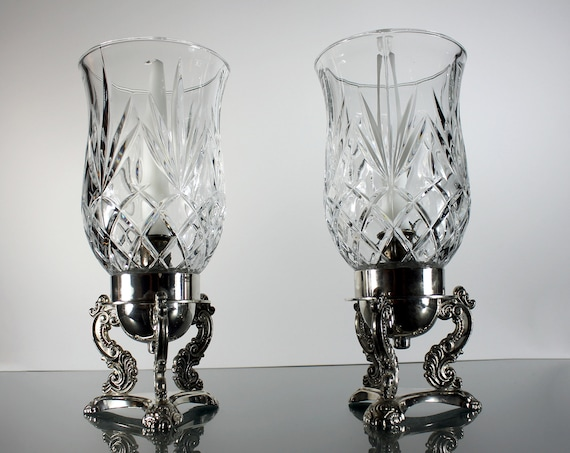 Godinger Crystal Hurricane Candlesticks, Silver Bases, 10 Inch, Set of 2, White Candles Included