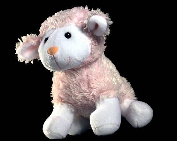 Plush Lamb, Stuffed Animal, Battat, Pink and White, Child's Gift Idea, Baby Shower, Nursery Decor
