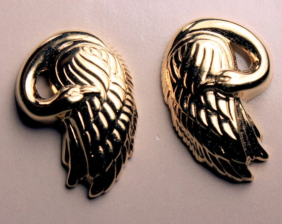 Avon Swan Earrings, Goldtone, Post Style Earrings, New In Box, 1989