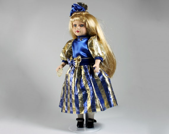 Brass Key Porcelain Doll, Pearls and Lace, Collectible, 16 Inch, Blue and Gold, Display Doll, Doll Stand Included