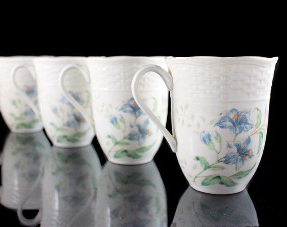 Mugs, Lenox, Butterfly Meadow, Set of 4, Basket Design, 12 Ounce, White, Floral, Discontinued