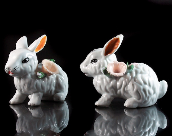 Rabbit Figurines, Bunny Figurines, Set of Two, Hand Painted, Raised Flower, White, Figurine, Porcelain, Collectible