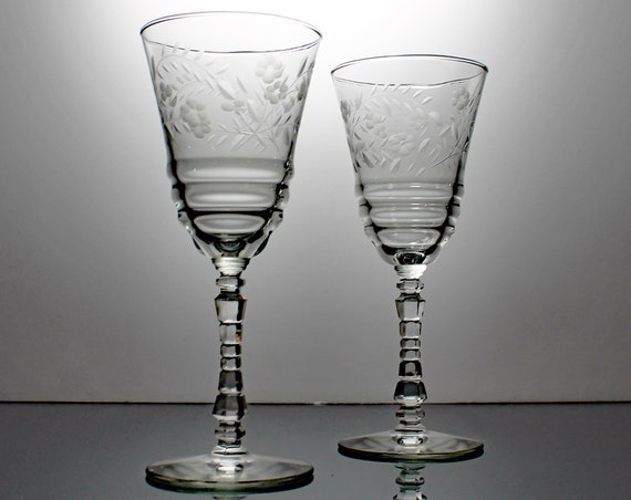 Etched Water Goblets, Rock Sharpe, Halifax, Libbey, Wine Glasses, Gray Cut Floral, Set of 2, Blown Glass, Barware,  Stemware, Wedding