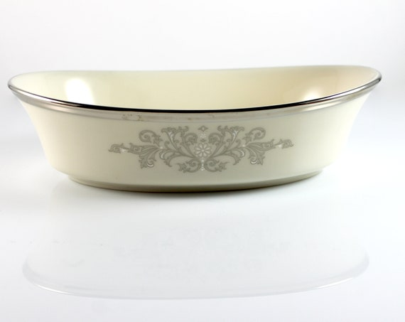 Vegetable Bowl, Lenox, Snow Lily, Discontinued, Cream Color, 8 Inch, Fine China, Like New