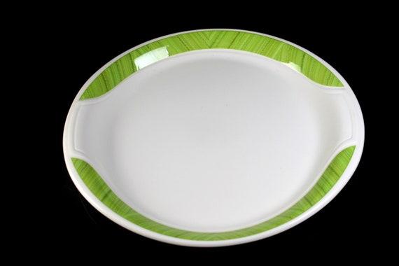 Syracuse China Platter, Syralite, Oval, Green Band, 12-Inch, Restaurant Grade