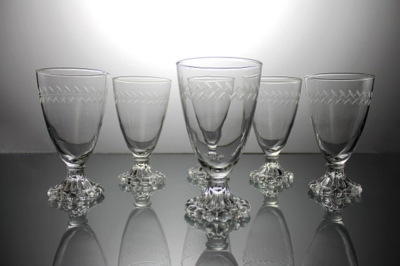 Anchor Hocking Wine Glasses, Laurel Gray Cut, Boopie Foot, Set of 6, Etched Glass, Barware