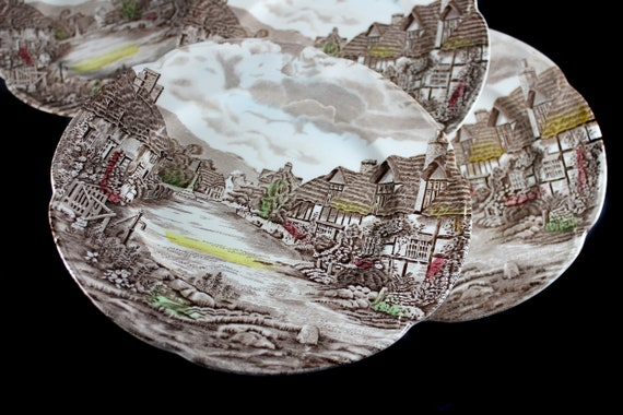 Johnson Bros Bread Plates, Olde English Countryside, Bread and Butter Plates, Set of 5, Brown Transferware, 6 Inch