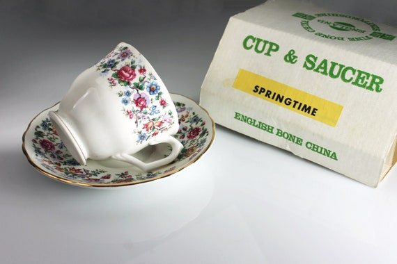 Footed Teacup and Saucer, Staffordshire, Springtime, England, New In Box, Bone China, Floral Pattern, 22 Kt. Gold Trim