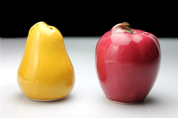 Fruit Salt and Pepper Set, Apple and Pear, Ceramic, Shakers, Handpainted, Figural, Kitchen Decor, Collectible