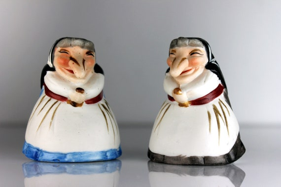 Witch Salt and Pepper Shakers, Kitchen Witches, Bisque Porcelain, Hand Painted, Halloween Decor, Good Luck Charms, Collectibles