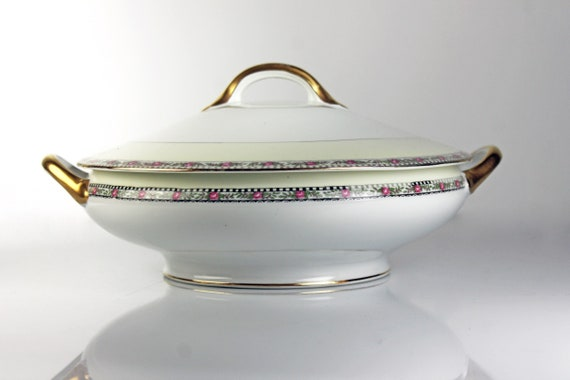 Antique Covered Vegetable Bowl, Noritake, Cherry Blossom Backstamp, Floral Band, White