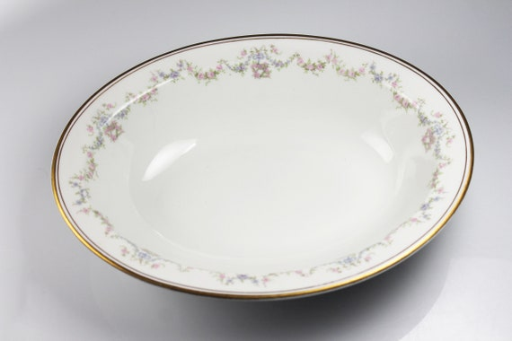 Oval Vegetable Bowl, O P Co Syracuse China, Floral Pattern, White, Pink Rose, Gold Trim