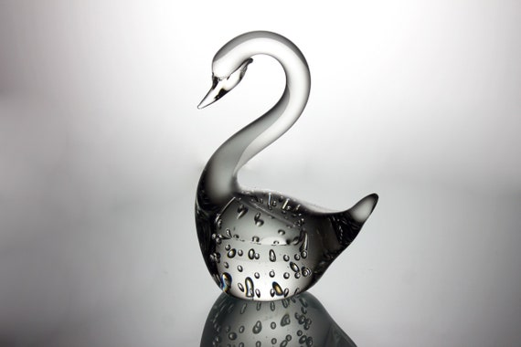 Swan Art Glass Paperweight, Clear Glass, Hand Blown Bubble Glass, Figurine, Collectible