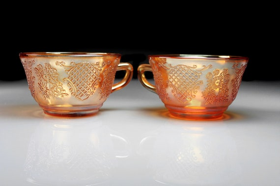 Depression Glass Teacups, Federal Glass, Normandie, Iridescent, Set of 2, Bouquet & Lattice, No Saucers