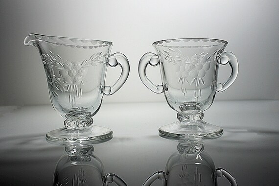 Antique Sugar Bowl and Creamer, Cut Floral Crystal, Clear Glass, Footed