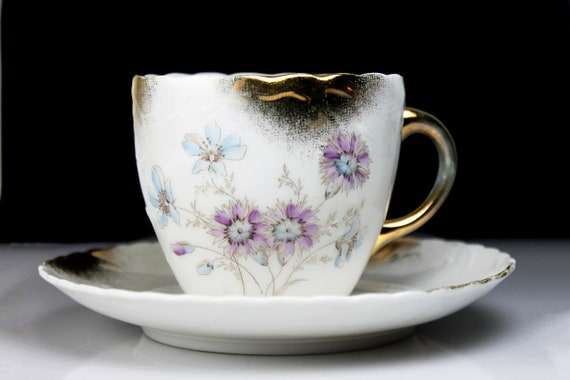 Cup and Saucer, Bone China, Embossed, Brushed Gold Trim, Floral Pattern