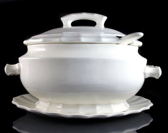 Oval Soup Tureen, California Pottery, 5 Quart, Cream Color, Ladle and Underplate Included, Large