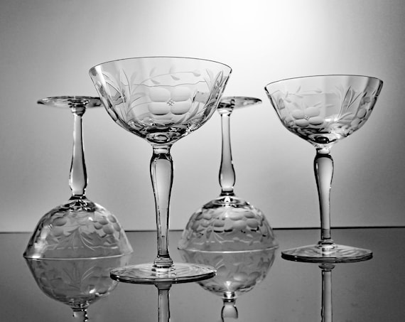 Wheel Cut Champagne Glasses, Wine Glasses, Coupe, Optic, Floral and Leaf Design, Set of 4, Barware