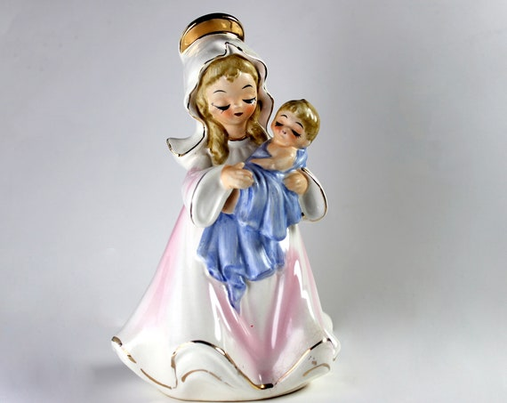 Madonna and Child Figurine, Josef Originals, Collectible, Hand Painted, Porcelain