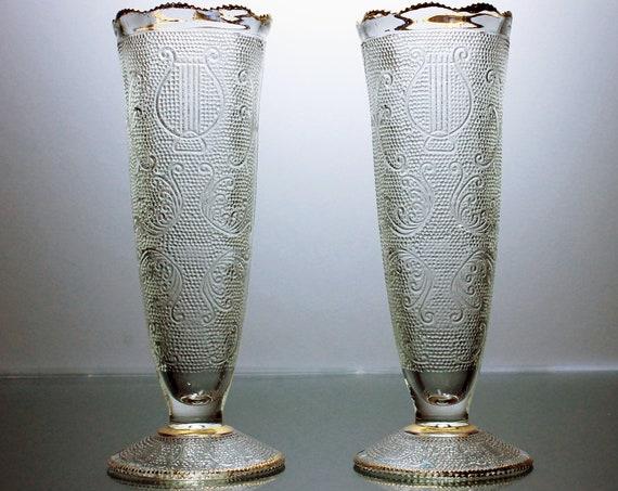Vases, Jeannette Glass, Harp Pattern, Gold Trim, Set of 2, Flower Vases