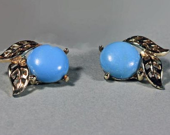 Clip On Earrings, Blue Button, Gold Tone Leaves, Costume Jewelry, Synthetic Stone, Ladies Jewelry