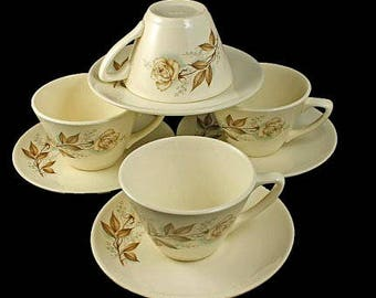 Mount Clemens Cups and Saucers, Brown Rose, Hard to Find Pattern, Floral Pattern, Set of 4, Tea Cups, Coffee Cups