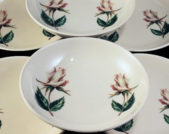 Fruit Bowls, Universal Pottery, Ballerina, White Rose Pattern, Made in USA, Porcelain, Set of 6, Dessert Bowls