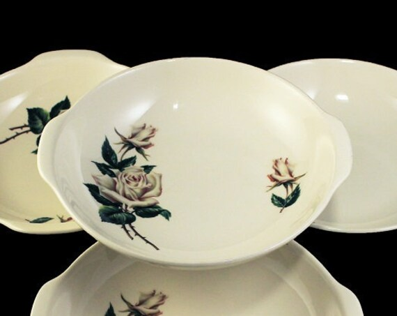 Lugged Soup Bowl, Universal Pottery, Ballerina, White Rose Pattern, Made in USA, Porcelain, Set of 4, Handled Soup Bowls