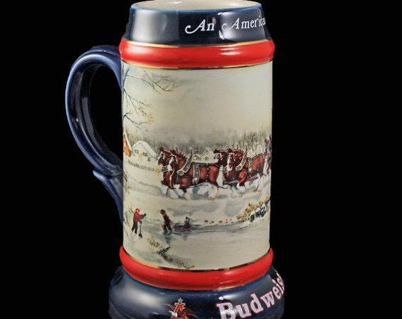1990 Budweiser Holiday Stein, An American Tradition, Beer Stein, Christmas Stein, Collectible, Anheuser-Busch Stein
