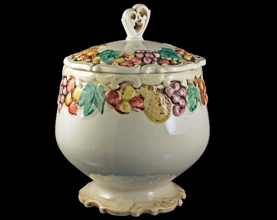 Cookie Jar, Lefton, Della Robbia, Hard to Find, Fruit Pattern, Cream Colored Background, Pedestal Base, Covered Cookie Jar