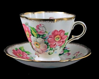 Footed Teacup and Saucer, Windsor Bone China, Pink Floral, Brushed Gold Trim, Fluted Square Cup, Made in England