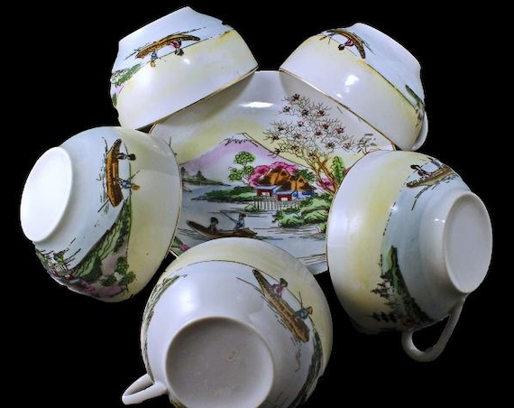 Teacup and Saucer, Mount Fuji, Eggshell Porcelain, Hand Painted, Set of 5, Made in Japan, Gold Trimmed