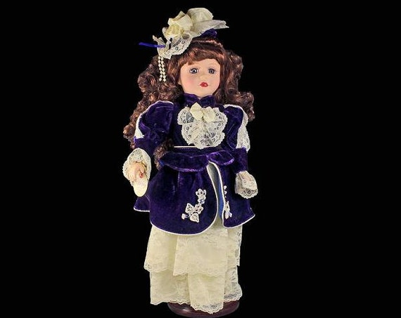 Brass Key Doll, Victorian, Collectible Doll, Porcelain Doll, Dark Purple Velvet, Ivory Lace, Blue Eyes, 17 Inch, Display Doll
