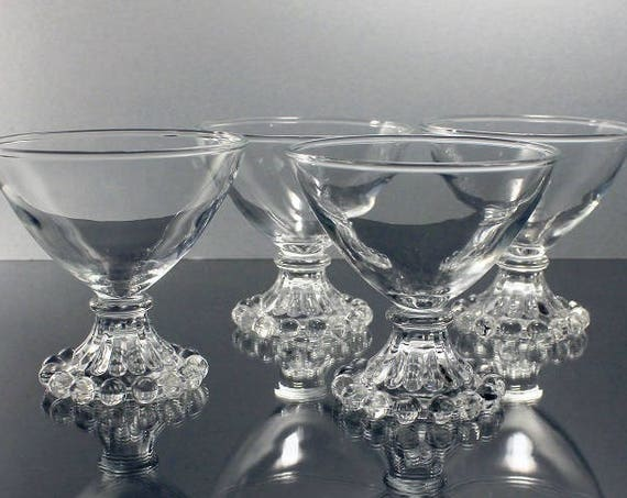 Boopie Champagne Glasses, Anchor Hocking, Tall Sherbet Glasses, Set of 4, Boopie Clear Glass, Barware