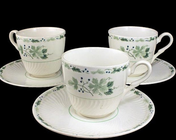 Ironstone Cups and Saucers,  Midland Enterprises,  Concord Pattern,  Green Leaves, Blue Berries, Swirl Edge, Set of 3