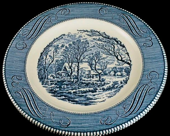 Dinner Plates, Royal USA, Currier and Ives, The Old Grist Mill, Blue and White, Made in the USA, Set of 2, Collectible Dinnerware
