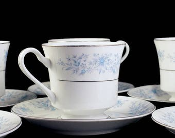 Teacups and Saucers, Fine China, Blue Floral, Made in China, Set of 6, Platinum