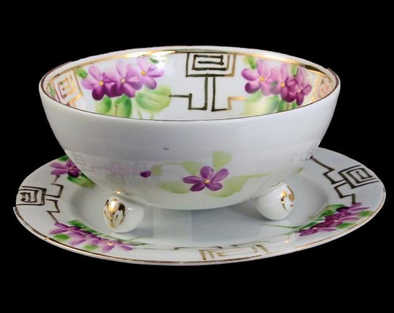 Antique Nippon, Footed Bowl with Underplate, Morimura Bros., Hand Painted, Floral Pattern, Gold Trim, Serving Bowl, Sauce Bowl, Rice Bowl