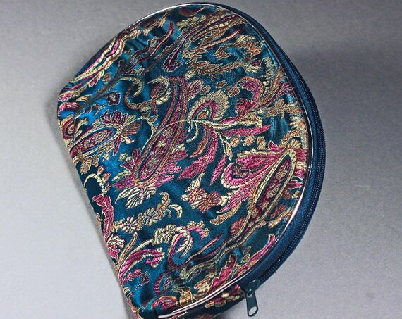 Paisley Makeup Bag, Cosmetic Bag, Teal, Purple, and Gold, Zipper Closure, Black Interior, Clutch Style
