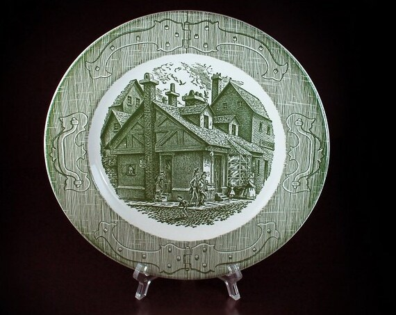 Dinner Plate, Royal USA, The Old Curiosity Shop, Green and White, Made in the USA, Collectible, Dinnerware