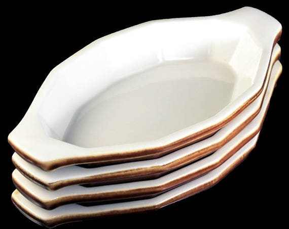 Au Gratin Bowls, Hall China, Brown, Individual Casserole, Dinnerware, Set of 4, Serving