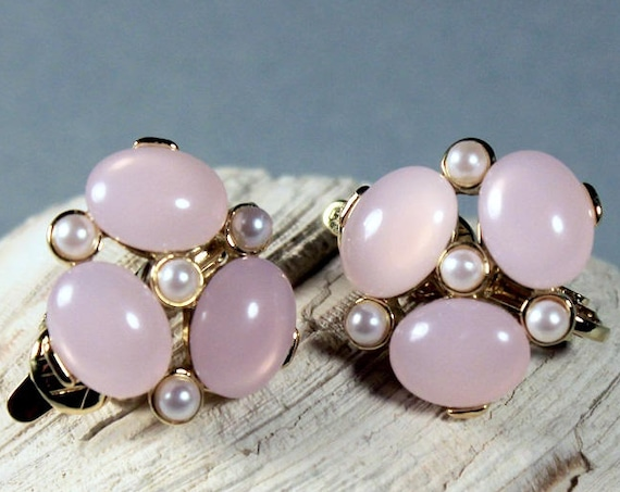 Trifari TM, Clip-On Earrings, Pink Cabochon, Faux Pearl, Signed, Gold Tone, Costume Jewelry, Collectible
