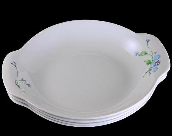 Round Au Gratin Bowls, Aluminite Frugier, Haviland Limoges France, Pebbles, Oven to Table, My Garden, Set of 4
