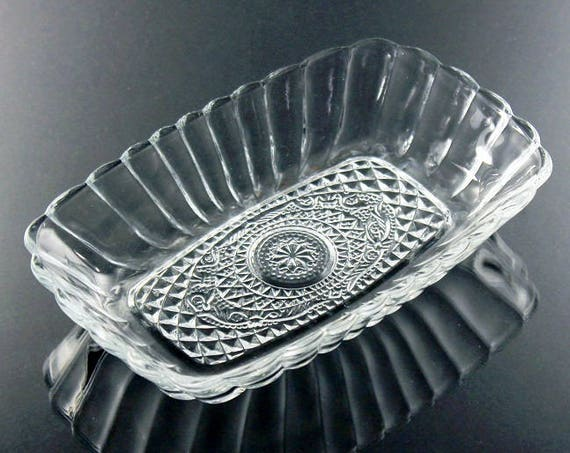 Relish Dish, Rectangular Bowl, Pressed Glass, Clear Glass, Serving Bowl, Paneled, Floral & Diamond Pattern