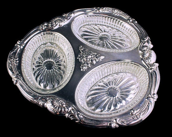 Oneida Silver Plate, Relish Tray, Three Section Tray, Glass Inserts, Condiment Tray, Serving Tray