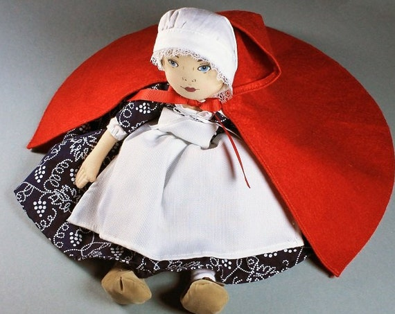 Cloth Doll, Sarah Doll,  1996 Colonial Williamsburg Foundation, Art Doll, Soft Cloth Body, Vintage, Red Cape, Country Doll, Collectible