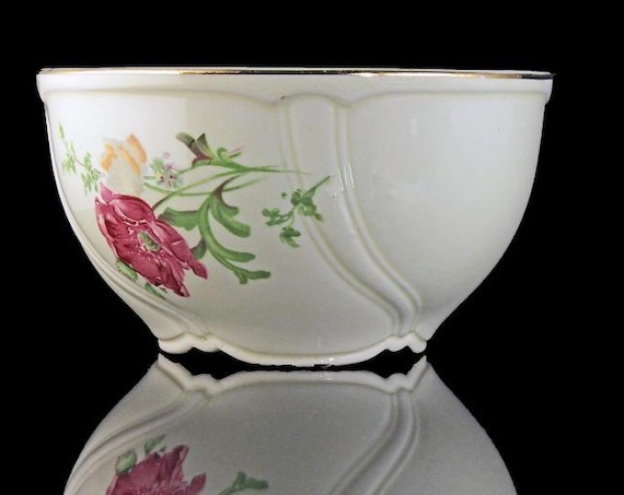Cranberry Bowl, TST Taylor Smith Taylor, Ivory, Floral, Gold Trimmed