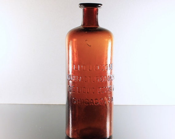 Antique Bottle, Liquozone, The Liquid Ozone Company, Circa 1800s, Brown, Embossed, Quack Medicine Bottle, Pharmaceutical, Patent Medicine