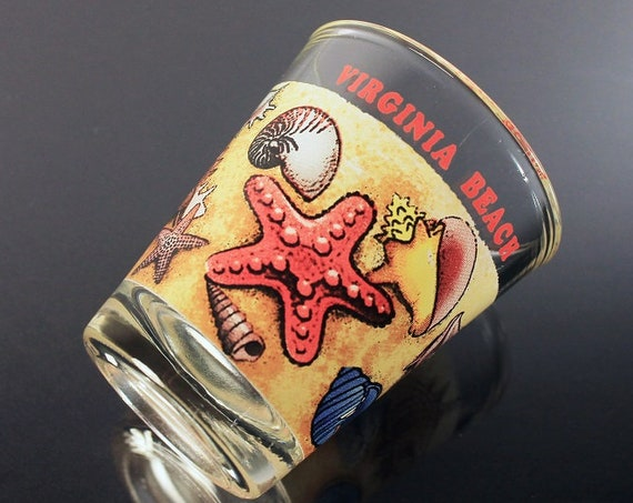 Souvenir Shot Glass, Virginia Beach, Shells and Starfish, Clear Glass, Pryo-Glazed, Collectible, Barware