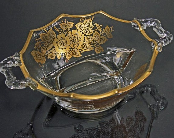 Divided Bowl, Gold Overlay, Silver City, Queens Rose, Scalloped Edge, 2 handled, Gold Floral and Foliage Design, Discontinued